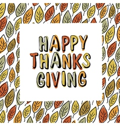 Happy Thanksgiving postcard design Autumn fall For vector image