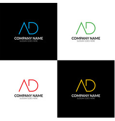 letter ad logo icon flat vector image
