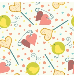 seamless candy bird hearts vector image vector image