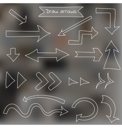 Set of draw arrows on blurred background vector image