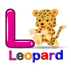 cute leopard and alphabet vector image