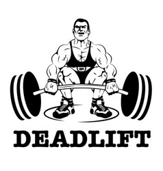 Deadlift logo label vector