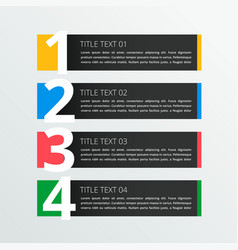 four steps infographic banner in dark theme vector image vector image