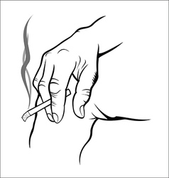 Hand holding cigarette vector image