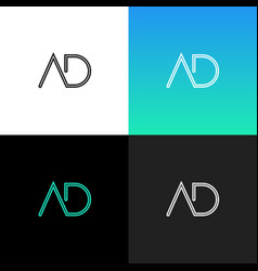 logo ad linear logo of the letter a and d vector image