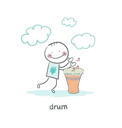 Man Drumming vector image vector image