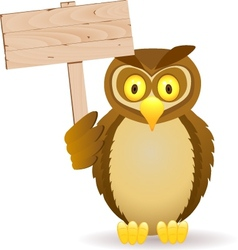owl with blank signboard vector image vector image