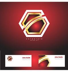 Red corporate hexagon badge gold logo vector image