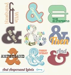 Vintage retro ampersand labels vector