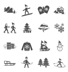 Winter Black Icons Set vector image