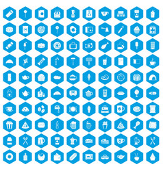 100 cafe icons set blue vector