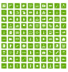 100 war icons set grunge green vector image