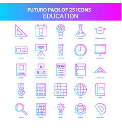 25 blue and pink futuro education icon pack vector image
