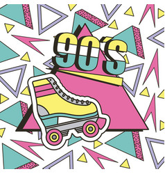 90s roller skate memphis geometric abstract vector