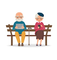 An elderly couple sitting on a bench with gadgets vector
