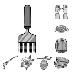 Apiary and beekeeping monochrome icons in set vector