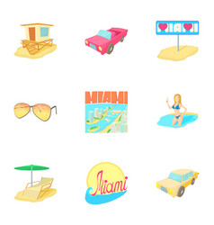 Attractions of miami icons set cartoon style vector