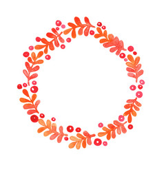 autumn fern and red berry wreath watercolor vector image