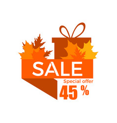 autumn sale a discount of 45 percent ribbon with vector image