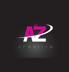 Az a z creative letters design with white pink vector