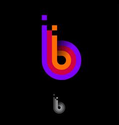 B letter logo monogram equalizer color stripes vector