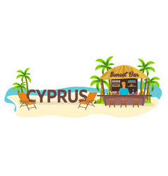 Beach bar cyprus travel palm drink summer vector