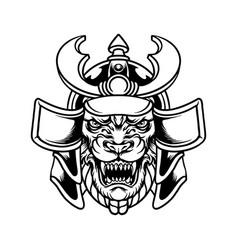 beast tiger samurai warrior silhouette vector image