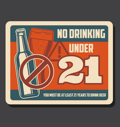 beer bottle and glass alcohol prohibition sign vector image