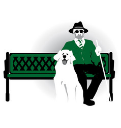 blind pensioner with a dog old man vector image
