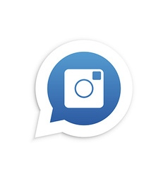 Blue Camera in speech bubble icon vector