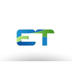 Blue green et e t alphabet letter logo vector