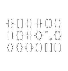 brackets line typography graphic symbols brace vector image