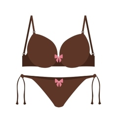 brown set bikini with bow vector image