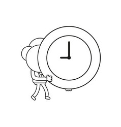 businessman character walking and holding clock vector image