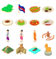 Cambodia travel icons set isometric style vector