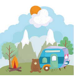 camping cute bear trailer bonfire trees mountains vector image
