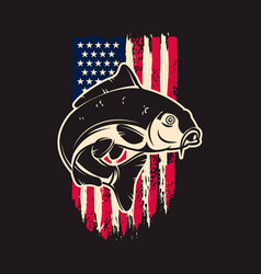 carp fish background usa flag in grunge vector image