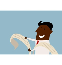 Cartoon african businessman reading a report vector image