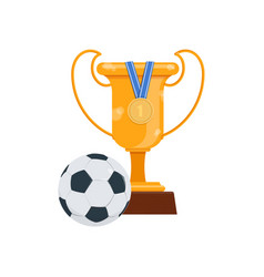 champion golden trophy medal and soccer ball vector image