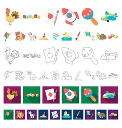 Children s toy cartoon icons in set collection vector