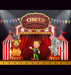 circus trainer with elephant and lion on the stage vector image