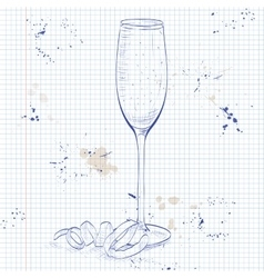 Cocktail French 75 on a notebook page vector