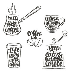 coffee lettering in cupgrinderpot grunge contour vector image