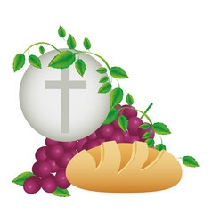 color background with communion religious icons vector image