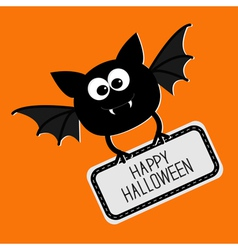 Cute bat with plate Happy Halloween card Flat vector