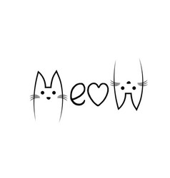 Cute cat design with meow text design vector