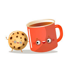 Cute homemade cookie character is smiling with red vector