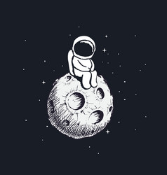cute little astronaut sits on moon vector image