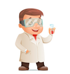 cute young scientist test-tube icon retro 3d vector image