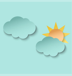 Cyan paper cut cloud and sun 3d paper art style vector